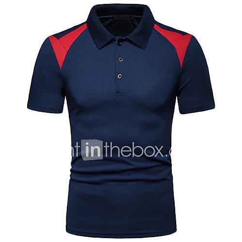 Men's Polo - Color Block Patchwork White L