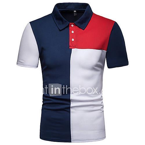 Men's Polo - Color Block Patchwork Black L