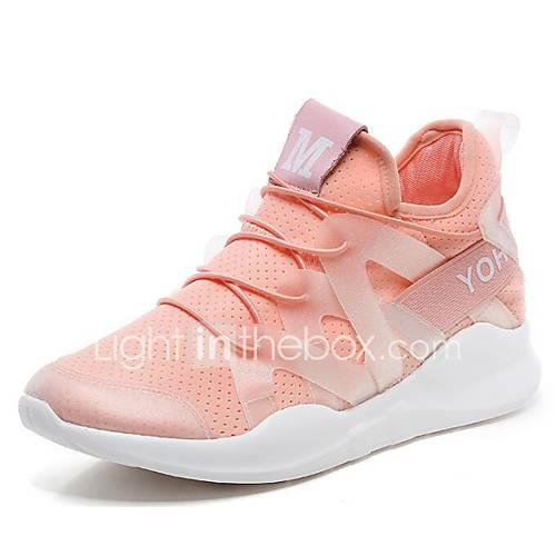 Women's Mesh Spring   Fall Athletic Shoes Running Shoes Hidden Heel White / Black / Pink