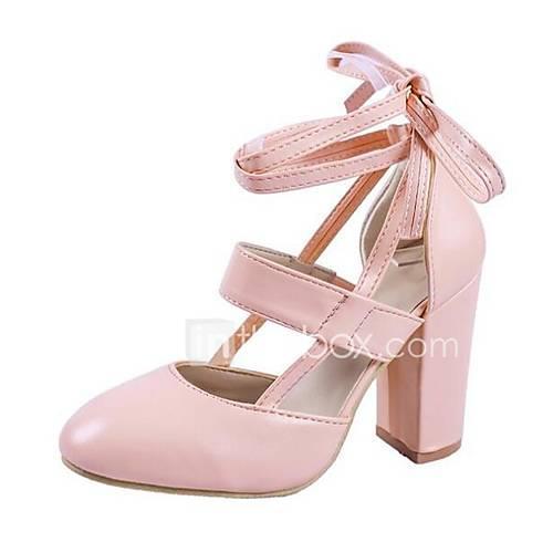 Women's PU(Polyurethane) Spring  Summer Heels Chunky Heel Beige / Red / Pink