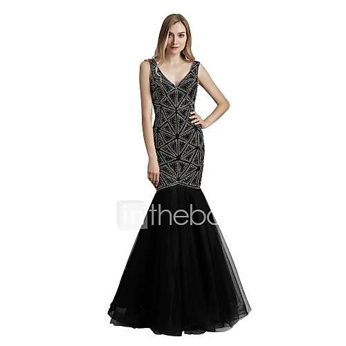 Mermaid / Trumpet Plunging Neck Floor Length Tulle Sparkle  Shine / Open Back Prom / Formal Evening Dress with Crystals by JUDYJULIA
