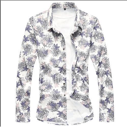 Men's Shirt - Floral Blue XXXXL