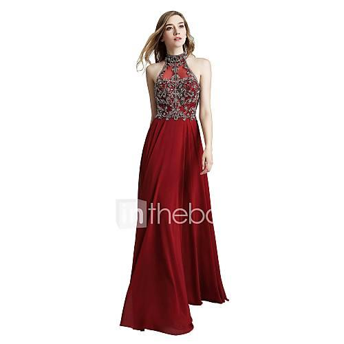 A-Line Halter Neck Floor Length Chiffon Beautiful Back Prom / Formal Evening Dress with Beading by JUDYJULIA