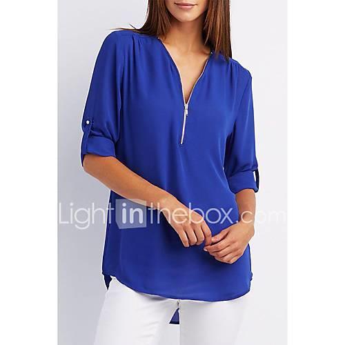 Women's Blouse - Solid Colored Light Blue XXXL