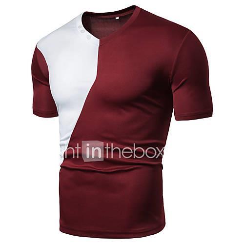 Men's T-shirt - Color Block Patchwork Black XL
