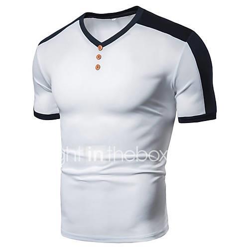Men's T-shirt - Solid Colored Patchwork Black XL
