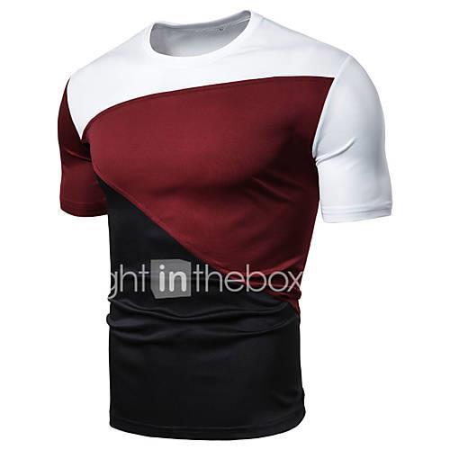 Men's Slim T-shirt - Color Block Patchwork Round Neck Black XL