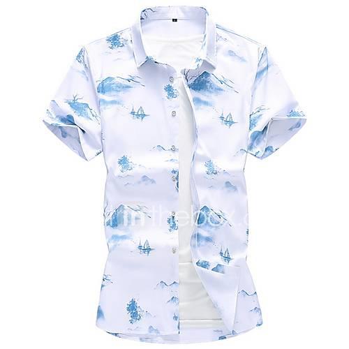 Men's Shirt - Geometric White XXXXL
