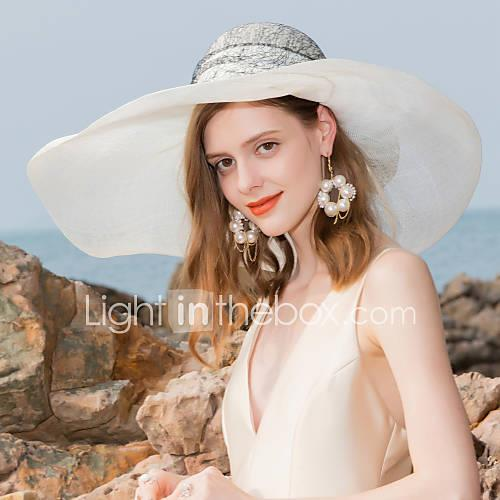 Image of 100% Linen Hats with Bowknot / Lace 1pc Special Occasion / Party / Evening Headpiece
