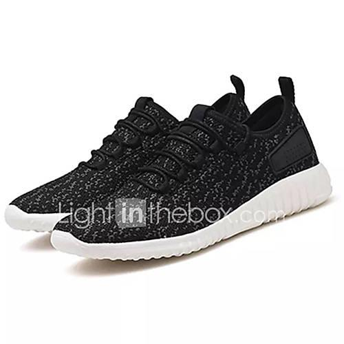 Men's Comfort Shoes Elastic Fabric / Tissage Volant Summer Sporty Athletic Shoes Running Shoes Non-slipping Color Block Black / Dark Blue / Black / White