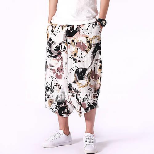 Men's Chinoiserie Harem Pants - Print Beige