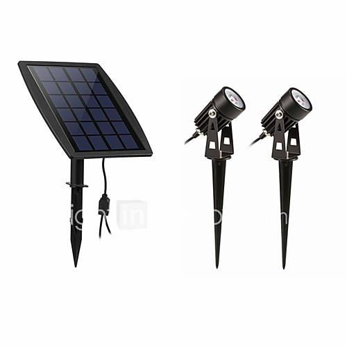 1pc 2 W Lawn Lights Waterproof / Solar / Dimmable White 3.7 V Outdoor Lighting 2 LED Beads
