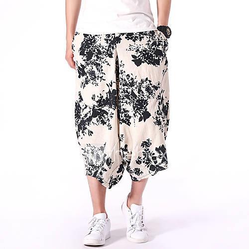 Men's Chinoiserie Harem Pants - Flower White