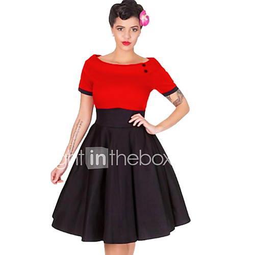 Women's A Line Dress Red Fuchsia XL XXL XXXL