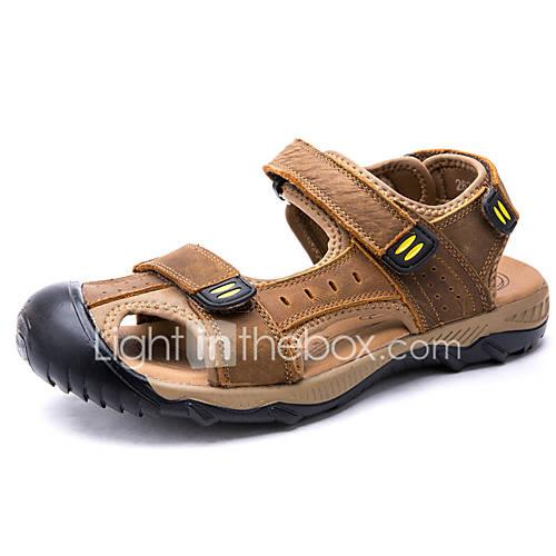 Men's Comfort Shoes Cowhide Spring  Summer Sporty / Casual Sandals Breathable Gray / Coffee / Brown