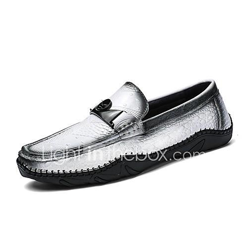 Men's Moccasin Cowhide Spring / Fall Classic / Casual Loafers  Slip-Ons Non-slipping White / Black / Brown