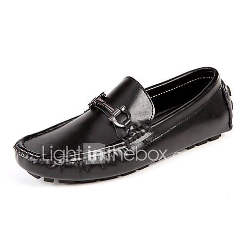 Men's Moccasin Cowhide Spring / Fall Classic / Casual Loafers  Slip-Ons Non-slipping White / Black / Red