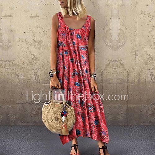 Women's Basic Swing Dress - Floral Print Green Red Yellow XXXL XXXXL XXXXXL