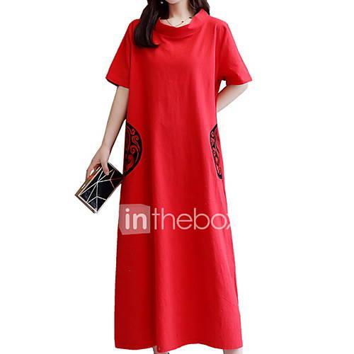 Women's Shift Dress - Geometric Print Blue Red Light Blue L XL