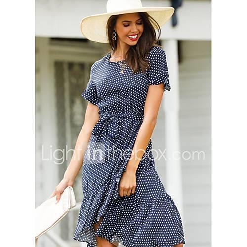 Women's Swing Dress Brown Black Navy Blue M L XL