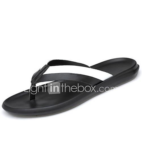 Men's Comfort Shoes Cowhide Summer Slippers  Flip-Flops White / Black
