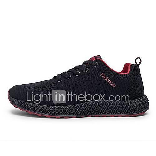Men's Comfort Shoes Mesh Spring  Summer Athletic Shoes Walking Shoes Black / Black / White / Black / Red