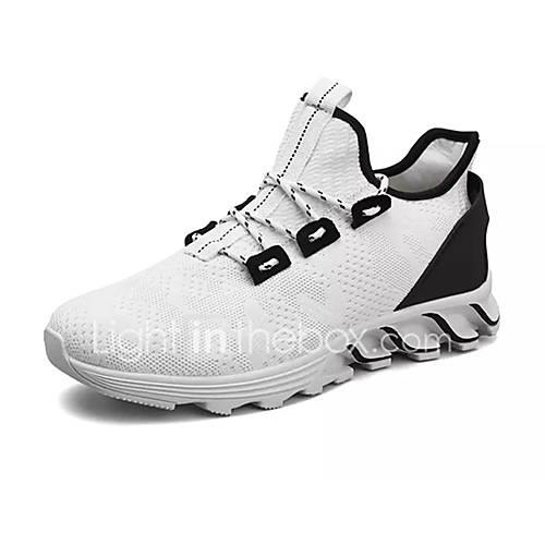 Men's Comfort Shoes PU(Polyurethane) / Tissage Volant Spring Sporty Athletic Shoes Running Shoes Non-slipping White / Black / Red