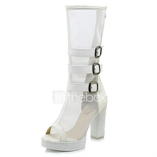 Women's Mesh / Microfiber Spring  Summer Boots Chunky Heel Peep Toe White / Black / Party  Evening