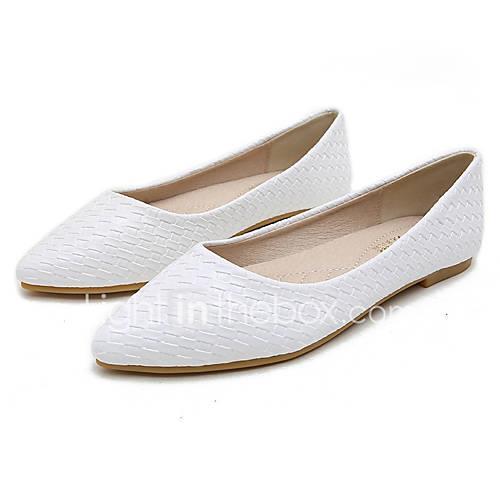 Women's PU(Polyurethane) Spring Flats Low Heel White / Black / Beige