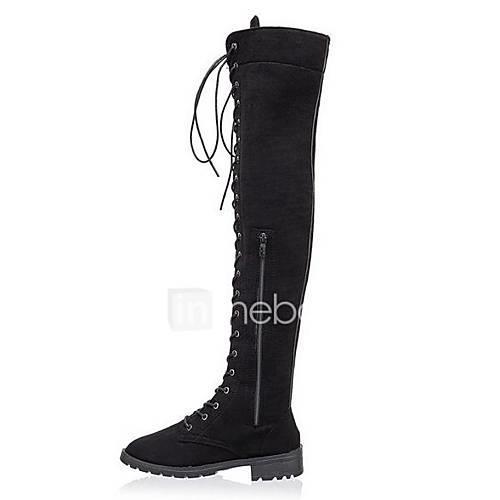 Women's Faux Leather Fall  Winter Boots Low Heel Brown / Green / Khaki