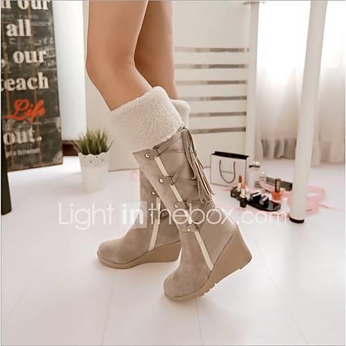 Women's Faux Leather Fall  Winter Boots Wedge Heel Black / Beige / Brown