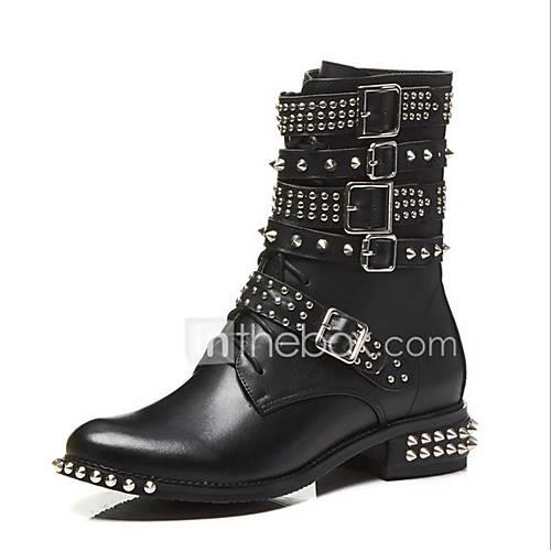 Women's Leather / Cowhide Fall  Winter Boots Chunky Heel Mid-Calf Boots Beading / Rivet Black