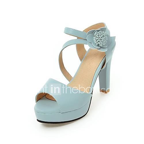 Women's PU(Polyurethane) Spring  Summer British / Preppy Sandals Chunky Heel Peep Toe Beige / Blue / Pink / Party  Evening
