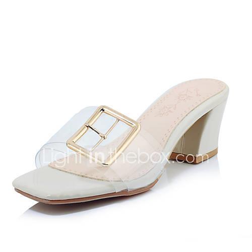 Women's PU(Polyurethane) Spring  Summer Minimalism Sandals Chunky Heel Square Toe White / Black / Beige