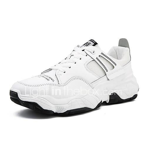 Men's Comfort Shoes PU(Polyurethane) Summer Sporty Athletic Shoes Running Shoes Wear Proof White / Black / Beige