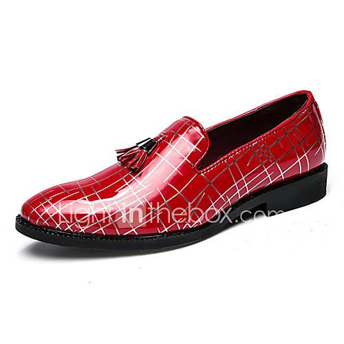 Men's Formal Shoes PU(Polyurethane) Spring  Summer Classic / British Loafers  Slip-Ons Non-slipping Black / Black / Silver / Red