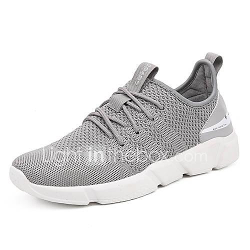 Men's Comfort Shoes Tissage Volant Summer Sporty Athletic Shoes Running Shoes Breathable Black / Gray / Black and White