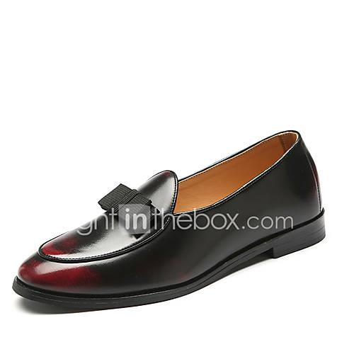 Men's Formal Shoes Faux Leather Spring  Summer Casual / British Loafers  Slip-Ons Non-slipping Gradient Black / Yellow / Red / Tassel / Party  Evening