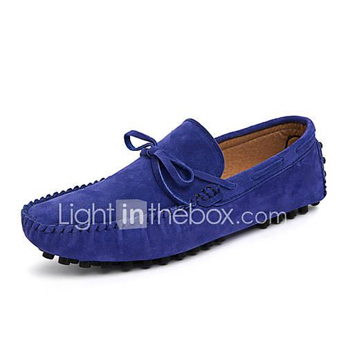 Men's Moccasin Cowhide Spring / Fall Classic / Casual Boat Shoes Non-slipping Coffee / Red / Blue