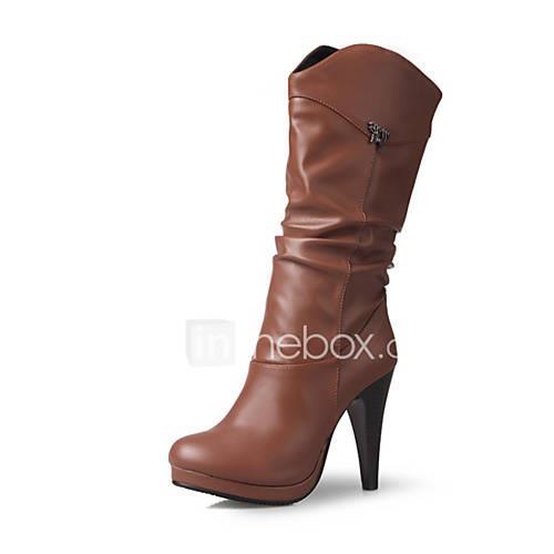 Women's PU(Polyurethane) Winter Boots Cone Heel Black / Yellow / Burgundy