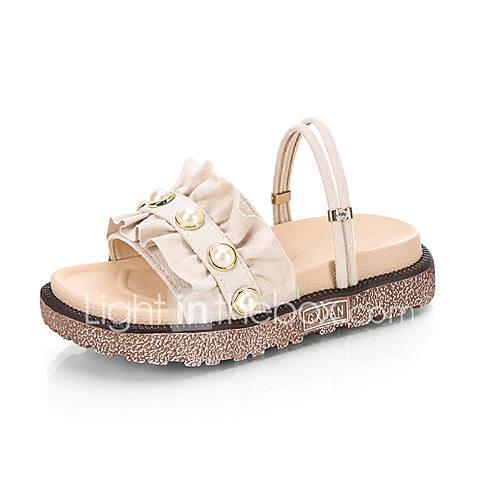 Women's PU(Polyurethane) Summer Casual Sandals Creepers Imitation Pearl Black / Beige