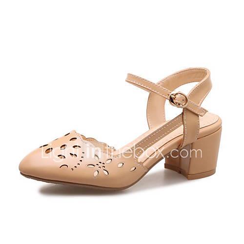 Women's PU(Polyurethane) Spring   Fall Sandals Chunky Heel Beige / Yellow / Almond