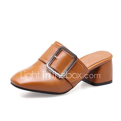 Women's PU(Polyurethane) Summer Clogs  Mules Chunky Heel White / Beige / Yellow