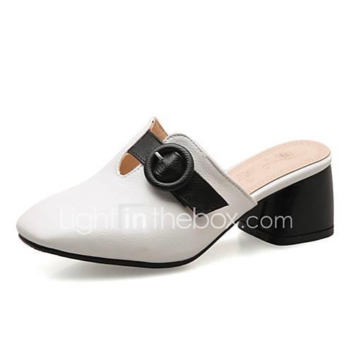 Women's PU(Polyurethane) Summer Clogs  Mules Chunky Heel White / Black / Yellow