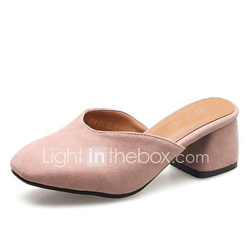 Women's PU(Polyurethane) Summer Clogs  Mules Chunky Heel Green / Pink / Almond