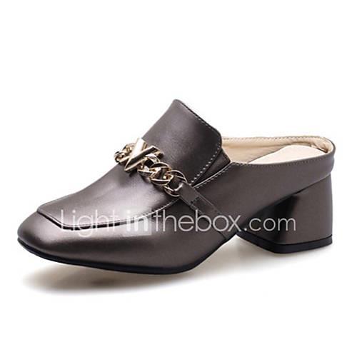 Women's PU(Polyurethane) Summer Clogs  Mules Chunky Heel Beige / Gray / Red