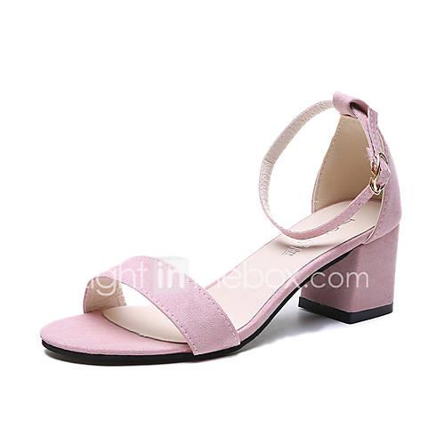 Women's PU(Polyurethane) Summer Minimalism Sandals Chunky Heel Black / Gray / Pink