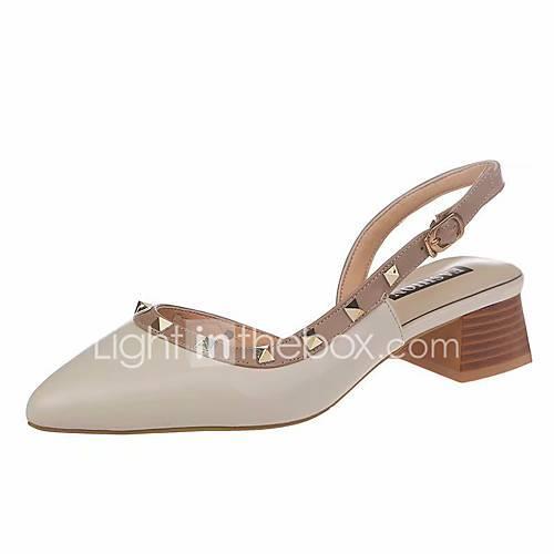 Women's PU(Polyurethane) Summer Minimalism Sandals Chunky Heel Pointed Toe Rivet Black / Beige / Almond