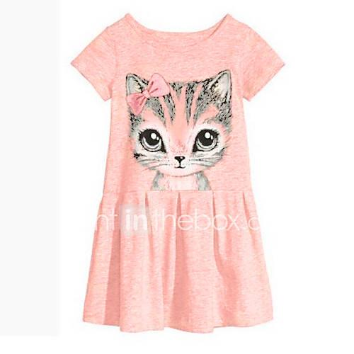 Girl's Dress, Cotton Spring Summer Fall Short Sleeves Floral Cartoon Gray Pink