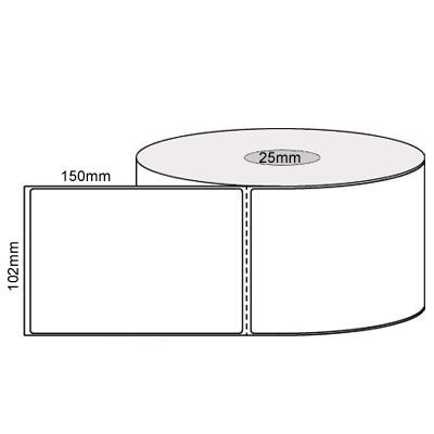"""Image of Thermal L14987 Transfer Labels, 102mmx150mm (4"""" X 6"""") Perm Roll W Perf 25mm Core (qty 400 Label)"""